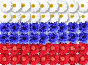 Background of flowers as Russia flag